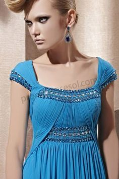 Blue Cap-sleeve A-line Tencel long Prom Evening Dress BY268