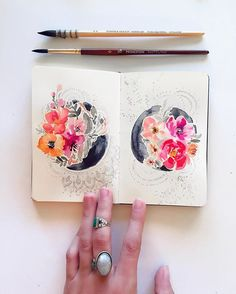 #Art #journal #sketchbook by @songdancedesign on Instagram #doodle #watercolor #floral #dsfloral