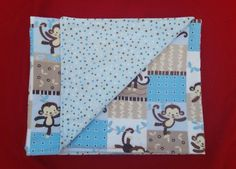 Monkey Flannel Blanket Receiving Blanket by LPBowsNAccessories
