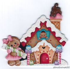 HP GINGERBREAD Gingerbread House FRIDGE MAGNET #Handpainted
