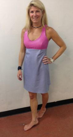 Leather color block dress - so soft!