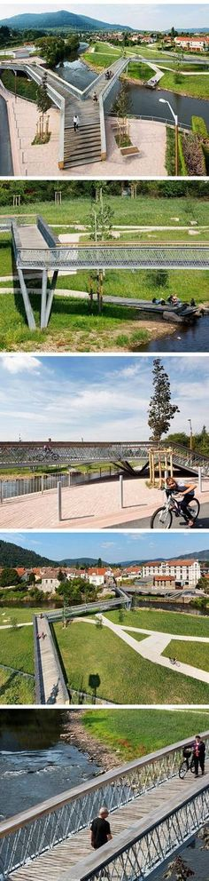 Bridge on the Meurthe River, France by Atelier Cité Architecture. Click image for link to full profile and visit the slowottawa.ca boards >> https://www.pinterest.com/slowottawa/