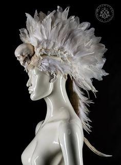 White feather mohawk headdress with human skull / White gothic ghost headpiece / Burning man headgear / Alternative wedding headdress / ooak