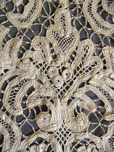 Antique lace panel Battenberg tape lace ecru by AntiqueAddictions