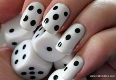DIY Minimalist Monochrome Manicures Cool dice nails Might try this for kids who don't know what number is represented by each finger. Could help them catch onto this concept.Help Help may refer to: Nails Polish, Nail Polish Designs, Nail Art Designs, Pedicure Designs, Black And White Nail Art, White Nails, Black Dots, Black White, Black Nails