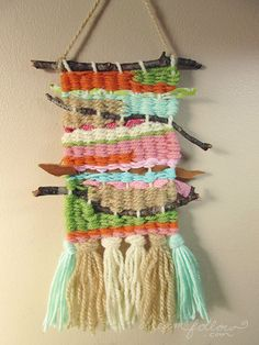 Small twig weaving/ wall hanging in sunset colors by littledear - to do with the kids??