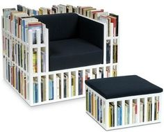Book Shelf Chair Storage...chair & footstool that double as bookshelf