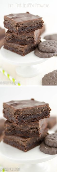 Thin Mint Truffle Brownies | crazyforcrust.com | Thin Mint Truffles on top of brownies: the best combo ever!