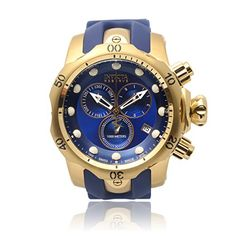 Invicta Men's 6113 Reserve Collection Subaqua Venom Gold-Plated Chronograph Watch Amazing Watches, Cool Watches, Watches For Men, Men's Watches, Jewelry Watches, Modern Watches, Online Watch Store, Blue Gold, Cobalt Blue
