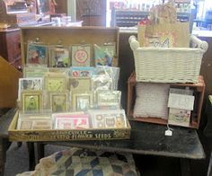 my handmade cards displayed in a vintage seed box!