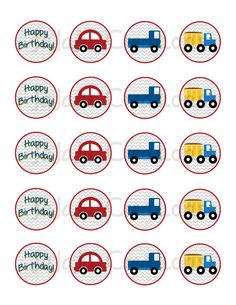Car and Truck Cupcake Toppers  Instant Download by JaJaJuCreations, $6.00