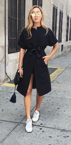 A Black Wrap Dress and White Sneakers by evangelina
