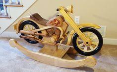 Wooden Motorcycle Rocking Horse by WoodArtByScott on Etsy