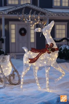 Light Up Reindeer Outdoor Decoration Light up led sparkly christmas reindeer indoor outdoor acrylic brighten your holidays with this lovely led sparkling reindeer and sleigh workwithnaturefo
