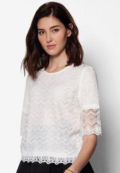 Buy Maxqullo Ivory Lace Top | ZALORA HK