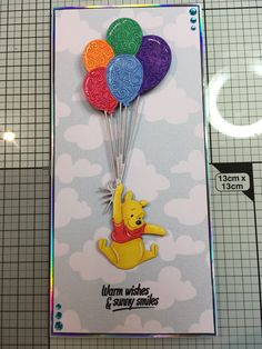 Disney Winnie the Pooh die cut coloured with Hunkydory Prism alcohol pens Winnie The Pooh Birthday, Disney Winnie The Pooh, Kids Cards, Baby Cards, Handmade Birthday Cards, Handmade Cards, Scrapbook Cards, Scrapbooking, Disney Cards