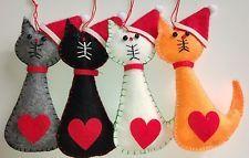 Set of 4 SANTA CAT felt Christmas tree decorations ginger grey white black NEW