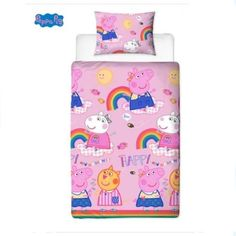 Peppa Pig Friends Hooray Rotary Single Bed Duvet Quilt Cover Set Brand New Gift