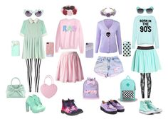 """Pastel Goth"" by queenstormrider ❤ liked on Polyvore featuring claire's, Gasoline Glamour, Boohoo, Wet Seal, Labour of Love, Forever 21, Pull&Bear, Converse, Full Tilt and Kate Spade"