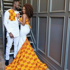 The most trendy and beautiful ankara styles and designs outfit for couples compilation. African Wedding Attire, African Attire, African Wear, African Dress, African Weddings, Nigerian Weddings, Couples African Outfits, Couple Outfits, African Traditional Wedding