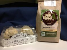Great coffee from Philly Fair Trade Roasters and Chocolate Chip Shortbreads. Yum!