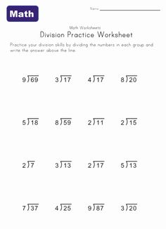 division worksheet five with remainders