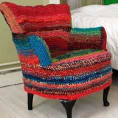 Crocheted upholstery - interesting idea. I just wouldn't want it to look sloppy