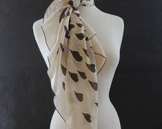 """Echo Vintage Square Silk Scarf in """"Flying Hearts"""" Pattern Brown Heart on Off White Background with Brown Thin Trim Heart Patterns, Scarfs, Off White, Silk, Trending Outfits, Brown, Unique Jewelry, Etsy, Vintage"""