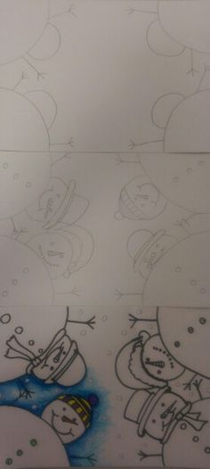 Perspective Snowmen....end of year Christmas drawing activity.