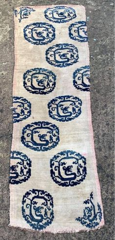 Unique 17/18thC Tibetan large carpet fragments from top left and lower right joined in the centre; wool warps and wefts,half and quarter sized knots and indigo dyed blue dragon roundels . Nb During the Chinese Kangxi ... | rugrabbit.com