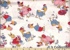 Bunny Rabbits & Ducks Dressed in Cute Clothes Novelty Childrens FULL FEEDSACK