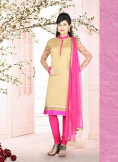 Appealing Ceam & Brown Chanderi #Salwar #Suit With Sequin Work #pakistanisuits #anarkalisuits #designersuits #womenapparel #womenfashion