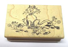 Magenta naughty cat mouse rubber stamp stamping humor funny cute wood mounted #Magenta #CatsKittensMice