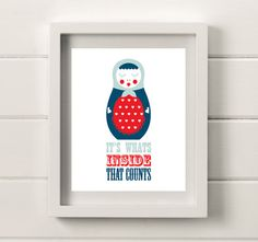 Russian Doll 8x10 Poster Print Navy Red Duck Egg by helenrobin, $20.00