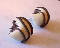 Bitten White Chocolate Stud Earrings by sammysbeadworks on Etsy, $10.00