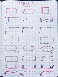 Planner doodles, boxes and frames for bullet journal decoration - Cute Notes, Pretty Notes, Bullet Journal Notes, Sketch Notes, Note Taking, School Notes, School Organization Notes, Bullet Journal Inspiration, Zentangles