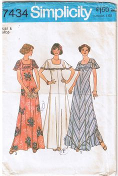Vintage 1970s Maxi Dress with attached cape collar. Find this and other vintage sewing patterns for sale in my ebay store.
