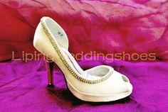 high heel beaded satin wedding shoes ivory bridal shoes