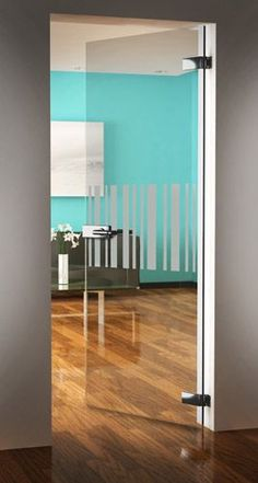 Lacquered Black Wooden Blind Modern Venetian Blinds. Frameless Glass Door