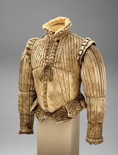 "Fencing Doublet, ca. Western European This doublet is a rare example of sixteenth-century male clothing, very little of which has survived. The cut of the doublet, particularly the protruding ""peascod"" waist, is typical of fashionable costume of the and 17th Century Clothing, 17th Century Fashion, 16th Century, Renaissance Mode, Renaissance Fashion, Medieval Clothing, Antique Clothing, Historical Costume, Historical Clothing"