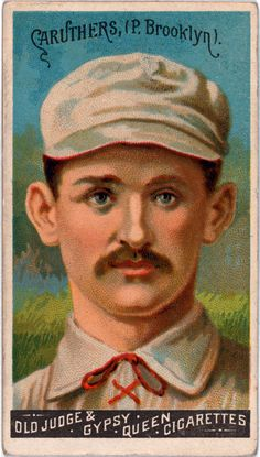 Issued by Goodwin & Company in 1888, this baseball card shows Bob Caruthers of the Brooklyn Trolley-Dodgers. Caruthers was a pitcher for the National League team. These Goodwin Champions baseball card