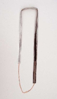 """HSIU HSUAN HUANG-TAIWAN """"Tracing Memory A"""" 2007 (silk sheet, pearl, ink, tread)"""