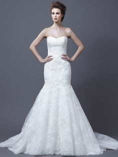 Trumpet/Mermaid Strapless Lace Satin Chapel Train White Appliques Wedding Dresses at Msdressy.com