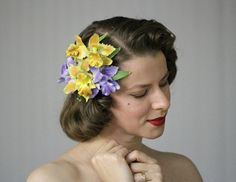 Orchid Headpiece by ChatterBlossom #vintage #hair #orchid #headpiece #yellow #purple #1950s