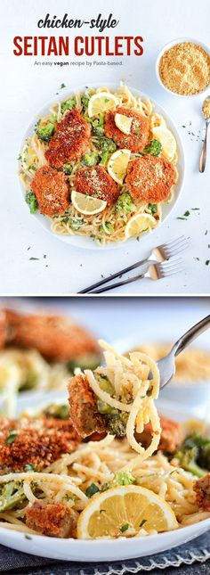 Crispy, flavorful and perfect for a variety of dishes. Seitan parmesan, sandwiches, pasta and even on pizza! Great for lunch or dinner and the leftovers can be frozen. Kids and parents will both love this meal. Vegetarian Dinners, Vegan Dinner Recipes, Pasta Recipes, Italian Recipes, Whole Food Recipes, Vegetarian Recipes, Chicken Recipes, Healthy Recipes, Veggie Meals