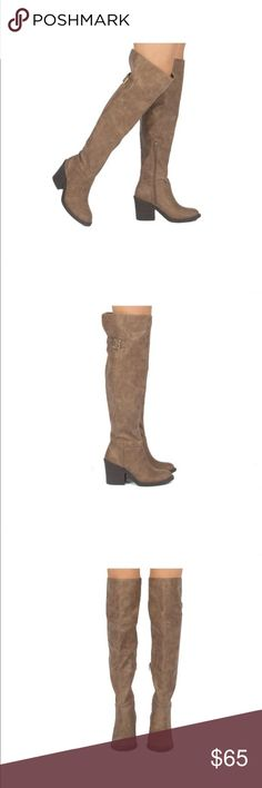 """🆕 TAUPE OTK BOOT BUCKLE INTO THIS OVER THE KNEE BOOT! A CLASSIC BOOT THAT FEATURES A DISTRESSED LEATHER UPPER, A ROUND TOE, A BUCKLE CLOSURE, AND A CHUNKY STACKED HEEL.  MATERIAL: MAN-MADE, LEATHERETTE SOLE: SYNTHETIC MEASUREMENT: HEEL HEIGHT: 3""""(APPROX)  FITTING: TRUE TO SIZE Shoes Over the Knee Boots"""