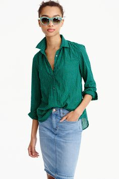 GATHERED POPOVER IN TWO-TONE GINGHAM