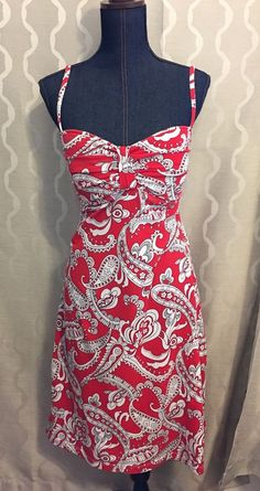 Tommy Bahama Sun Dress red & White Floral With Built In Bra Size XL runs small #TOMMYBAHAMA #Sundress #Casual