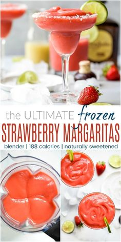 The Ultimate Frozen Strawberry Margarita Recipe at home! Quick and easy in a blender with minimal fresh ingredients Enjoy these frozen margaritas right away or store them in the freezer as a make ahead cocktail that's ready for your next party! Frozen Margaritas, Frozen Strawberry Margarita, Homemade Margaritas, Frozen Drinks, Strawberry Margarita Recipe On The Rocks, Recipes With Frozen Strawberries, Strawberry Alcohol Drinks, Frozen Strawberry Desserts, Frozen Daiquiri