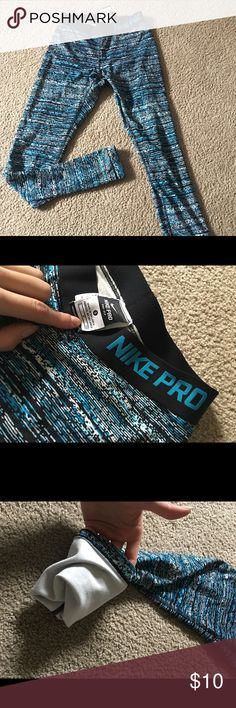Nike Pro leggings Long dri fit Nike Pro leggins with fleece inside legs. Nike Pants Leggings